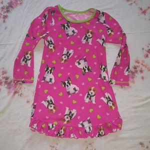 Lil girls puppies with scarves nightgown sz 5t